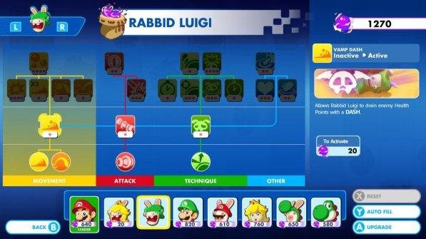 Mario + Rabbids Rabbid Luigi Skills
