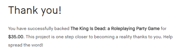 The King is Dead Backed