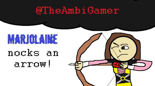 Marjolaine Nocks an Arrow!