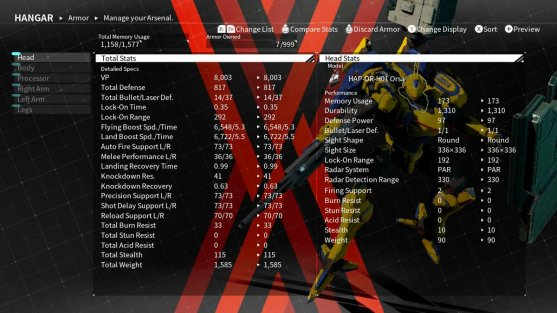 Daemon X Machina Arsenal Stats